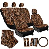 zebra striped car accessories - OxGord 21pc Zebra Car Seat Cover, Carpet Floor Mat, Steering Wheel Cover and Shoulder Pad Set - Universal Fit, Truck, SUV, or Van - Lion Orange