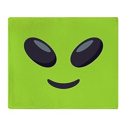 Amazoncom Cafepress Alien Emoji Face Soft Fleece Throw Blanket 50