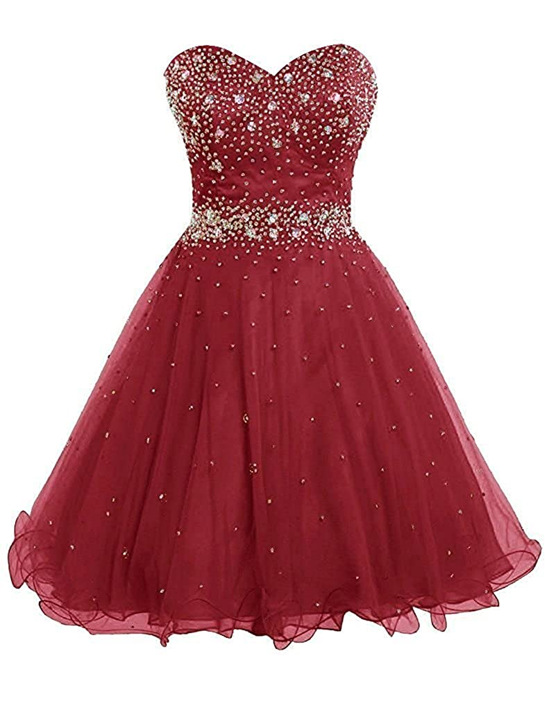 Burgundy APXPF Women's Short Beaded Cocktail Party Bridesmaid Homecoming Dress