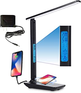 Desk Lamp with Wireless Charger, 10W USB Charging Port, Adjustable 5 Levels Dimmable Lighting for Eye Caring, Smart Table Lamp with Clock, Foldable Office Home Lamp with Adapter for Work Study Reading