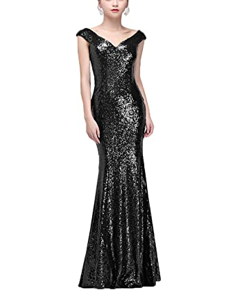 DingXuBao Womens Mermaid Sequined Long Evening Dress Formal Prom Gown Bridesmaid Dresses(US2, Black
