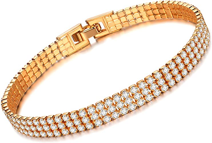 Chain Link Bracelets Bangles Purple AAA Cubic Zircon Bracelet Gold Color Women Wedding Bangle Jewelry
