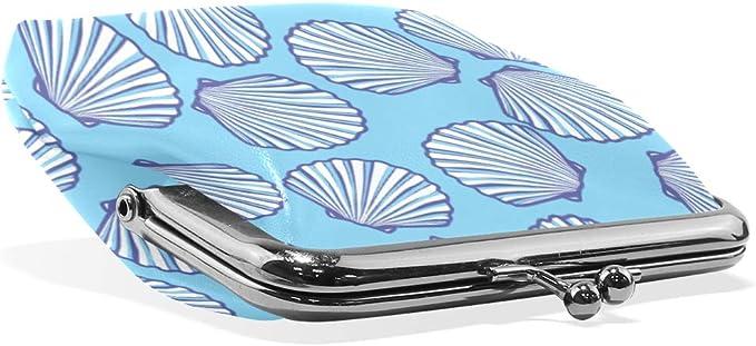 Cartera con diseño de Concha de mar, Fondo Azul, Monedero de Piel ...