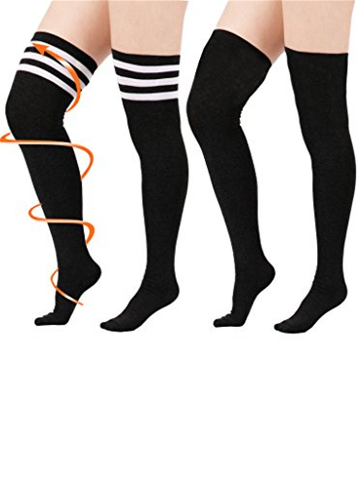 Women Girls Plus Size Kawaii Over Knee Long Tube Socks Thigh High Tights Stretchy Triple Stripes Cosplay Stockings 2 Pairs Goth Black
