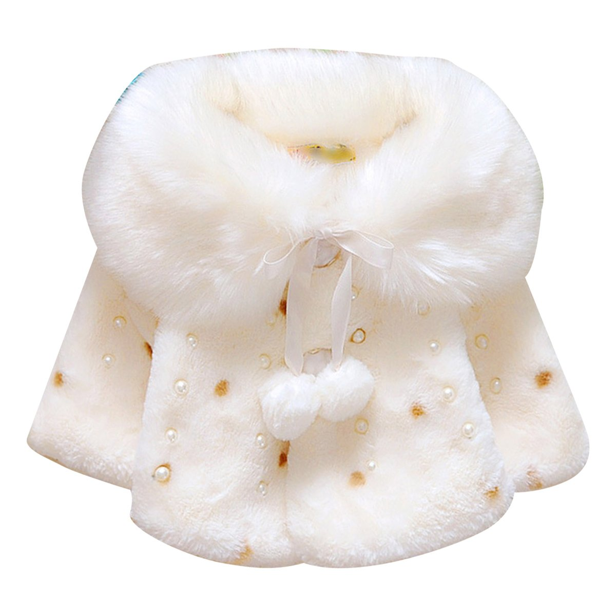 puseky Princess Baby Girls Winter Warm Pearl Cloak Cape Coat Overcoat Thick Clothes 0-6 Months)