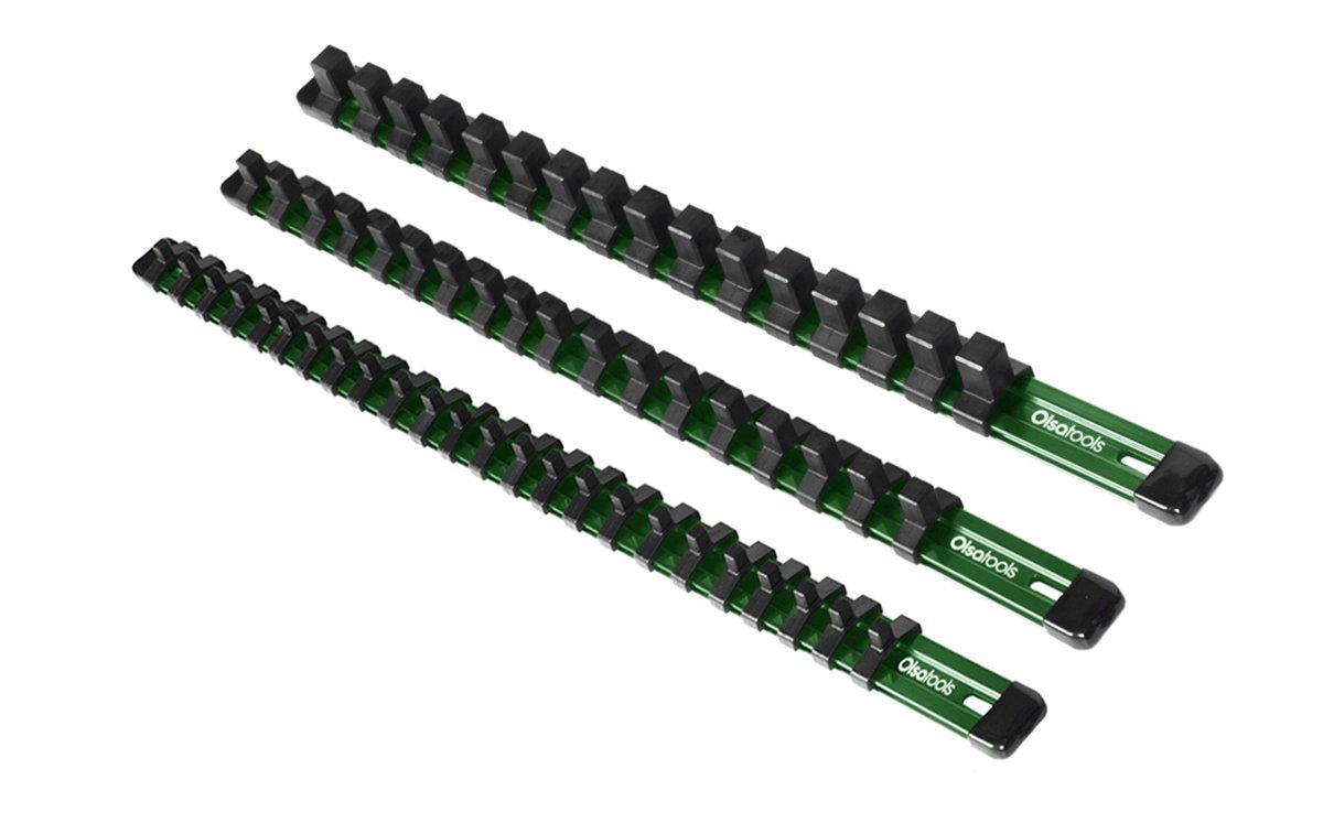 Olsa Tools 3 Pcs Kit Aluminum Socket Organizer 1/4-Inch Drive x 24 Clips, 3/8-Inch Drive x 18 Clips, 1/2-Inch Drive x 16 Clips | Premium Quality Tool Holder (Green)