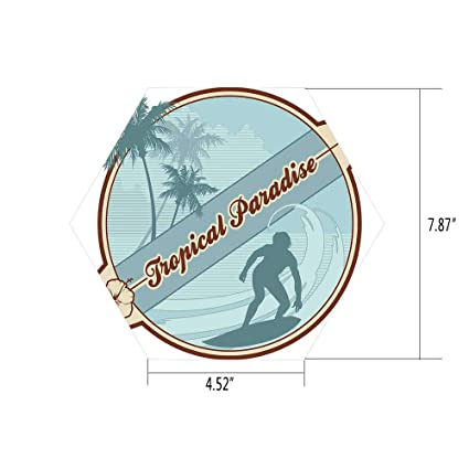 PTANGKK Hexagon Wall Sticker,Mural Decal,Surf,Retro Image Silhouette of a Surfer