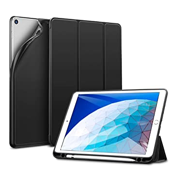 ESR Funda para iPad Air 3ª generación 2019/ iPad 2019 con Portalápices, Funda Smart Plegable Flexible de Goma Suave con Soporte para Apple Pencil para ...