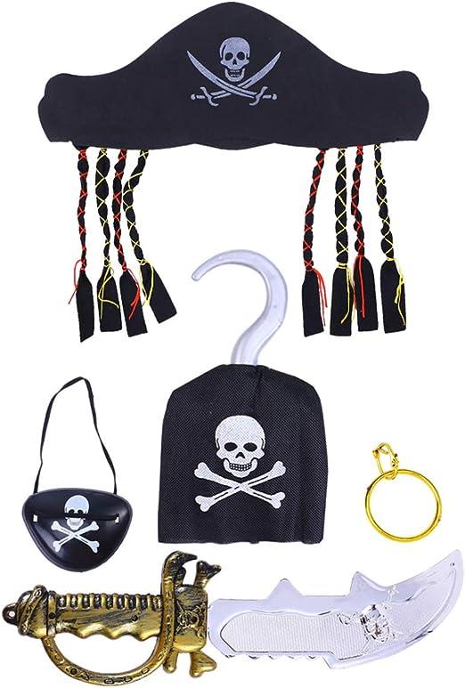 NUOBESTY 5 Piezas Halloween Disfraz De Pirata Sombrero Gancho ...