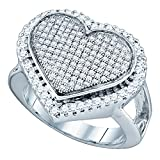 Diamond Heart Ring Sterling Silver Promise Love Band Round Pave Set Polished Finish Fancy 3/4 ctw Size 9