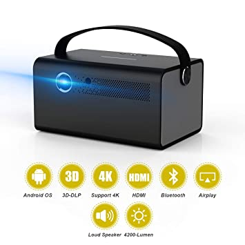 Video Proyector 3D DLP Link 2019 Nuevo V7 Android 6.0 600 ANSI Proyector 4200 Lúmenes Corrección Trapezoidal Soporte 4K Bluetooth WiFi para iPhone ...