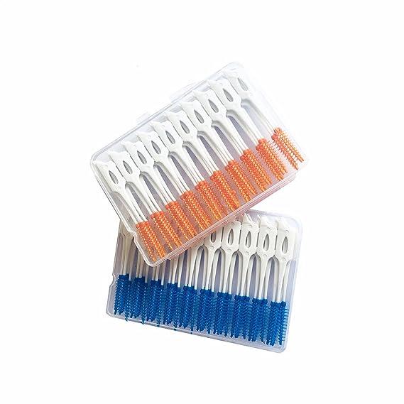 ULTNICE Cepillo interdental palillo de dientes de plástico blando Masaje de encías Masaje gingival Cepillo de dientes hilo dental herramienta limpia 80 ...