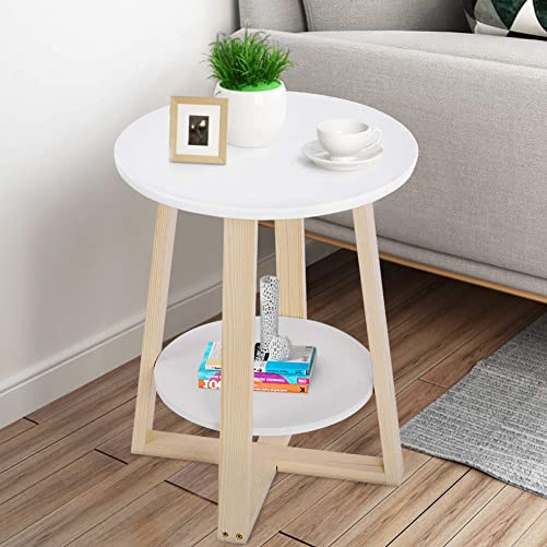 Round Side Table White End Table Small Coffee Tables