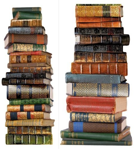 Brewster 18-Inch x 5 ft. 8-Inch Book Stack Wall Decal Wall Stack