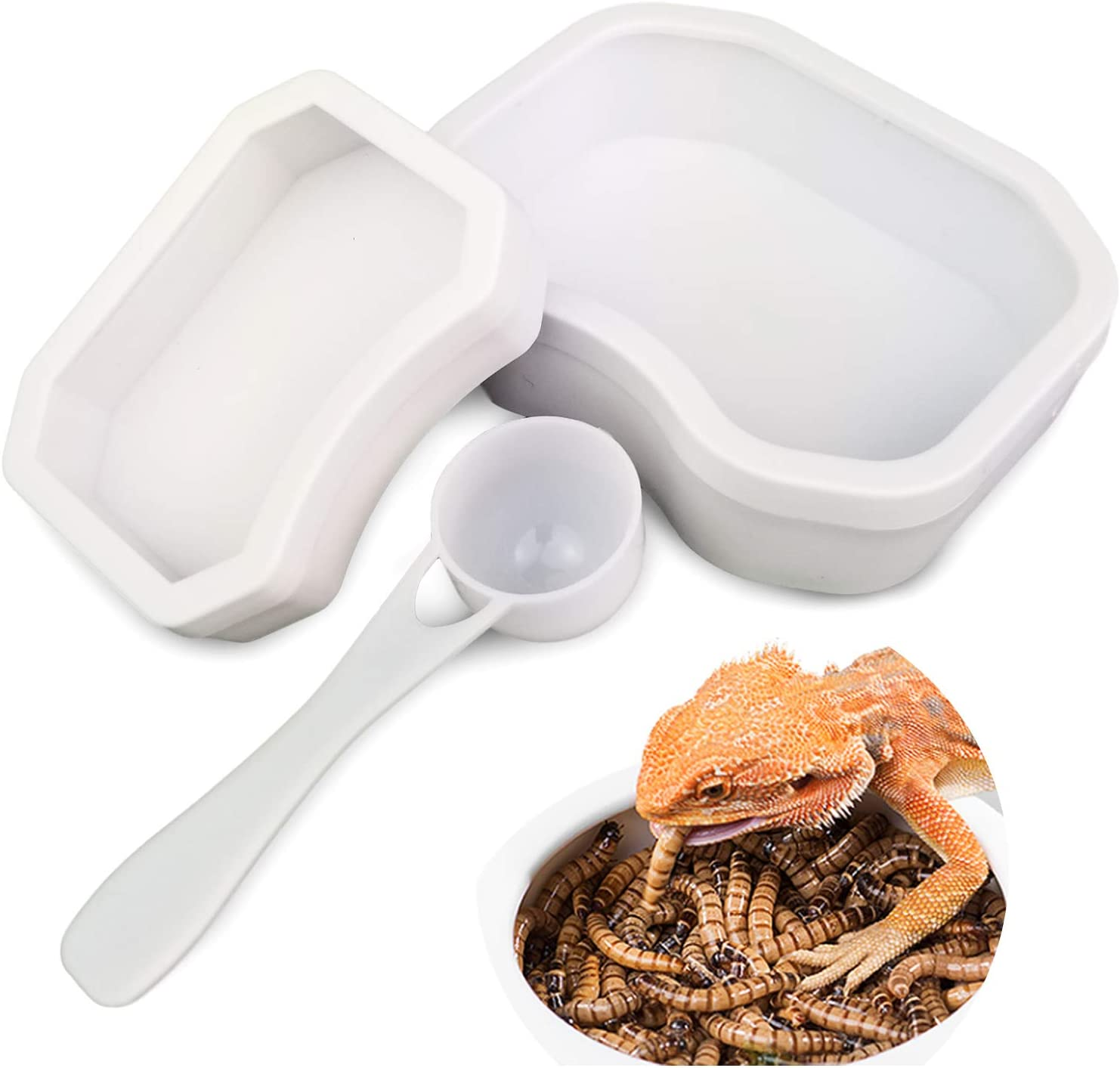 BINANO 3Pcs-Set Reptile Water Bowls Water Dish Worm Feeding Feeder for Lizard Turtle Bearded Dragon Leopard Gecko Plastic Feeding Bowl(White)