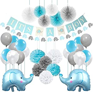 Bellac Baby Shower Decorations Kit | Boys Party Decor Supplies Elephant Themed Baby Shower Party Kit - It's a Boy Banner - Pomp Poms Balloons Hanging Paper Fans (Blue)