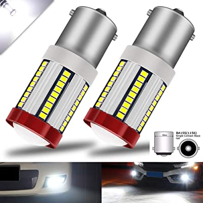 BOODLIED 20Watts No Hyper Flash BA15S LED Bulbs 66-EX 2016 SMD Chips with Lens Projector 1156 1141 1003 1073 7506 LED Lamps For Reverse Brake Turn Signal Lights.Amber/Yellow.2-Pack. (BA15S-W): Automotive