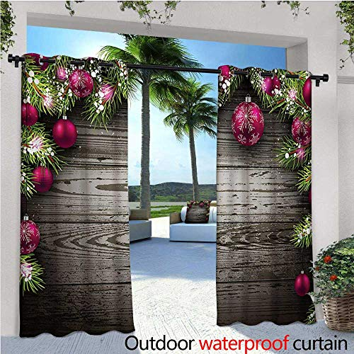 homehot Christmas Patio Curtains Old Fashioned Concept with Twigs and Balls on Rustic Wood Vintage Design Print Outdoor Curtain for Patio,Outdoor Patio Curtains W72 x L108 Brown Pink