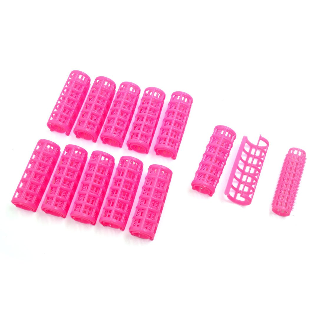 uxcell 12 Pcs Pink Plastic DIY Home Salon Hair Curlers Clips Rollers Hairdressing Tool for Ladies