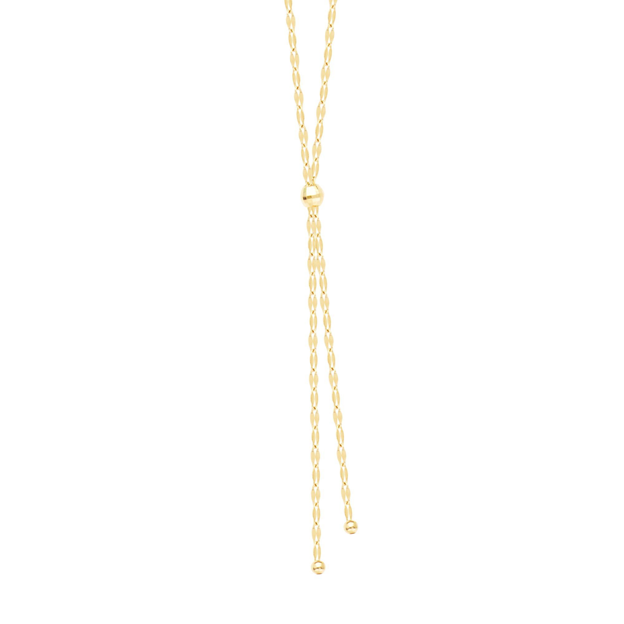 Hawley Street Y-style Necklace 14k Yellow Gold Hammered Forzentina Chain by AzureBella Jewelry