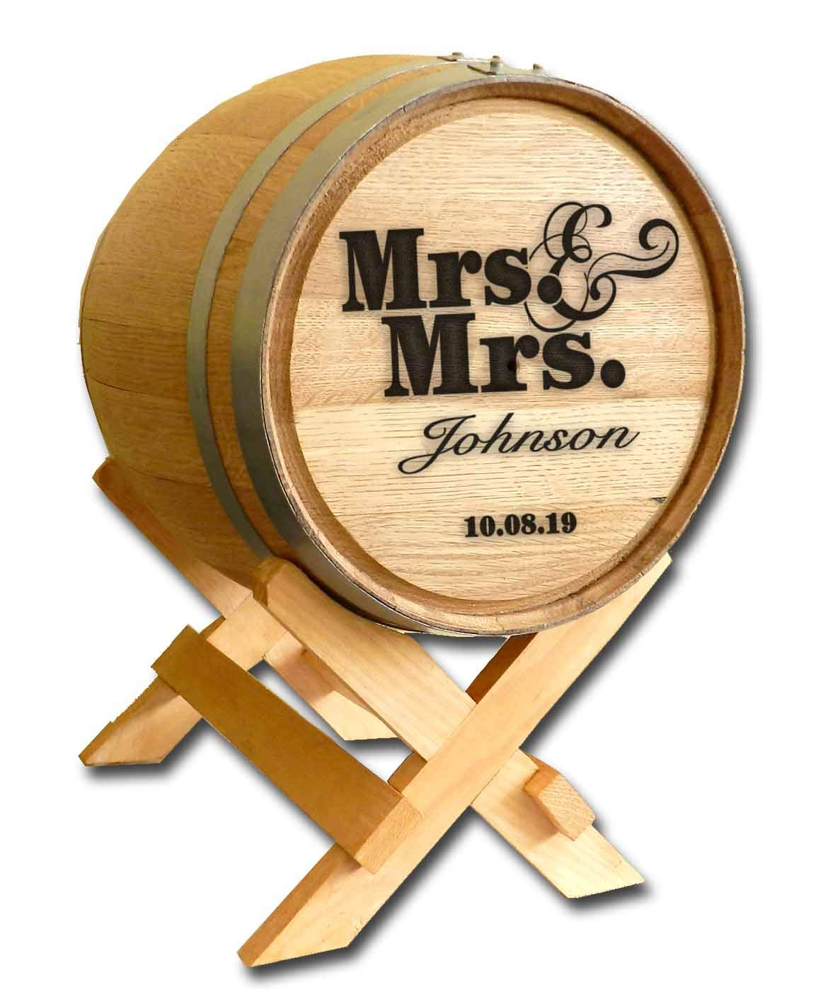 Personalized Mrs. & Mrs. Wedding Barrel Card Holder