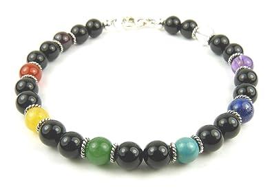 Damali Chakra Bracelet: Handmade Beaded Black Onyx Gemstone Beaded Healing Crystal Spiritual Energy for Men or Women HwQqjAr1OU