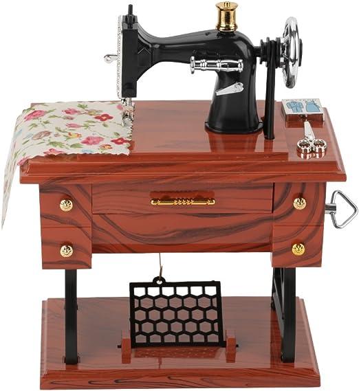 Hongzer Mini Caja de música de la máquina de Coser, Caja de música mecánica de Costura Retro Creativa Vintage, Caja de música de Mesa Antigua de la máquina de Coser: Amazon.es: Hogar