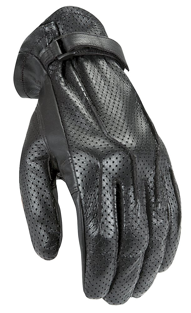 Power-Trip Jet Black Women's Leather Harley Touring Motorcycle Gloves - Black/Perforated / Large