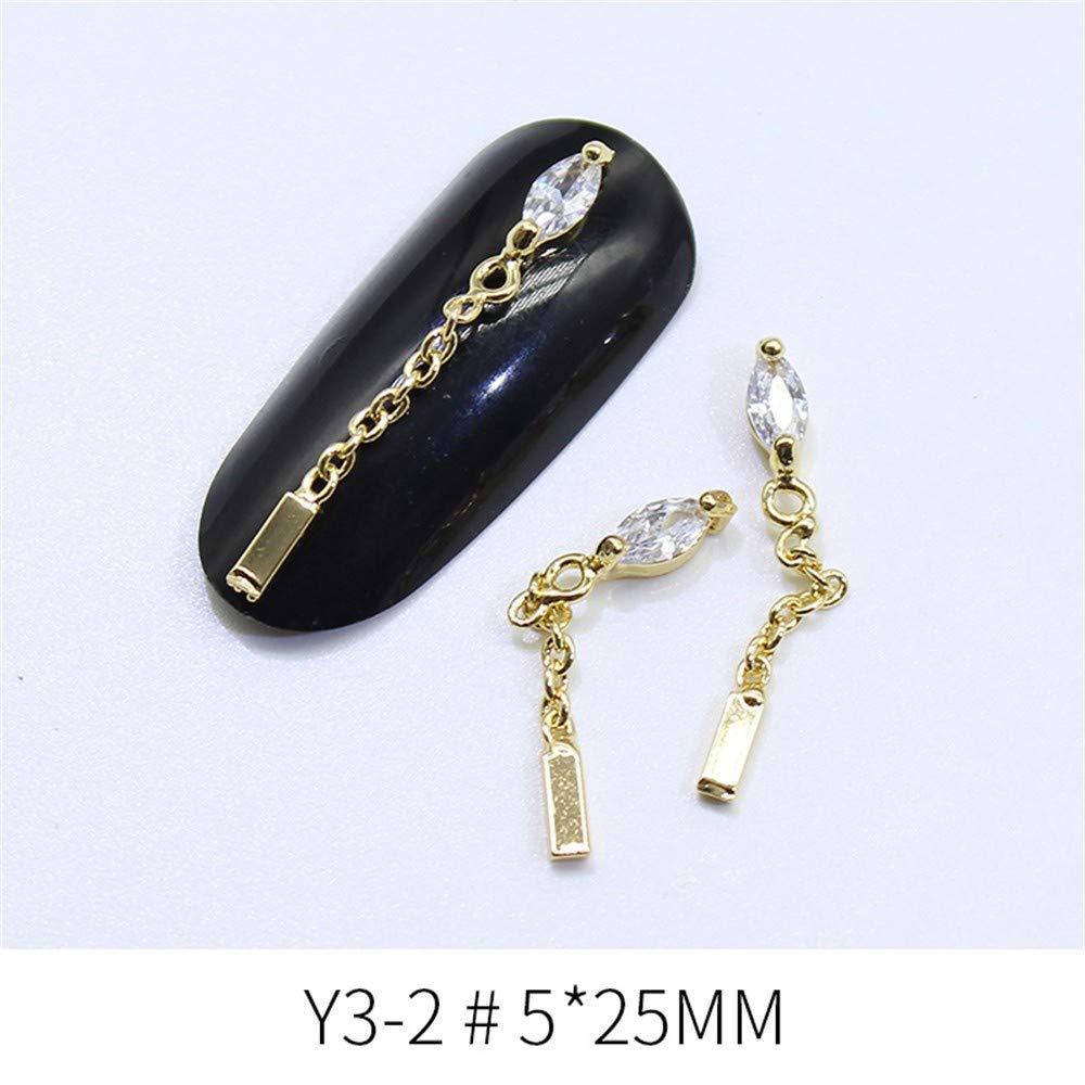 Piezas Diamantes,Nail Art Metal Jewelry Zircon Nail Simple Colgante Decoración Moda Simple Nail Y Exquisito, Y3-14 (Individual) 3d0cc7