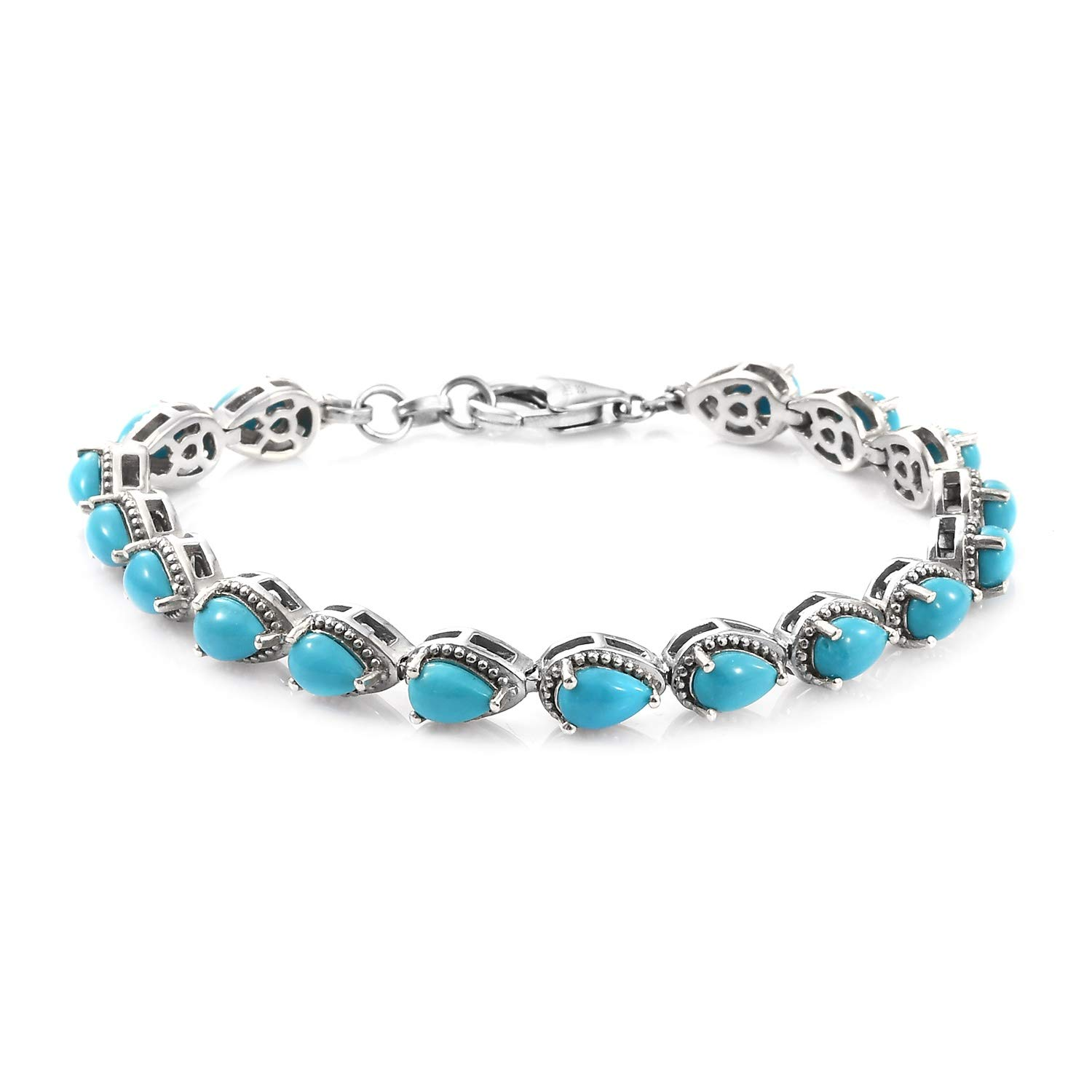 925 Sterling Silver Line Tennis Bracelet Platinum Plated Pear Sleeping Beauty Turquoise Size 6.5'' by Shop LC Delivering Joy