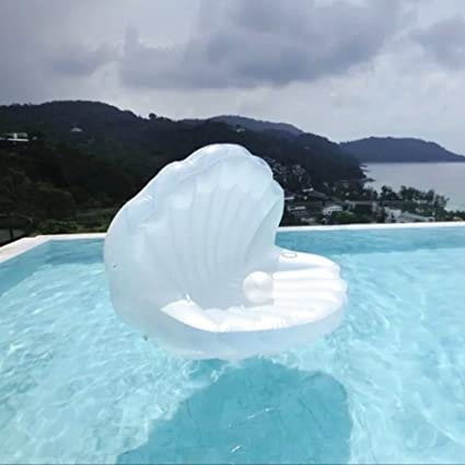 DMGF Inflatable Giant Seashell Swimming Pool Float With Rapid Valves Air Mat Summer Water Sport Raft