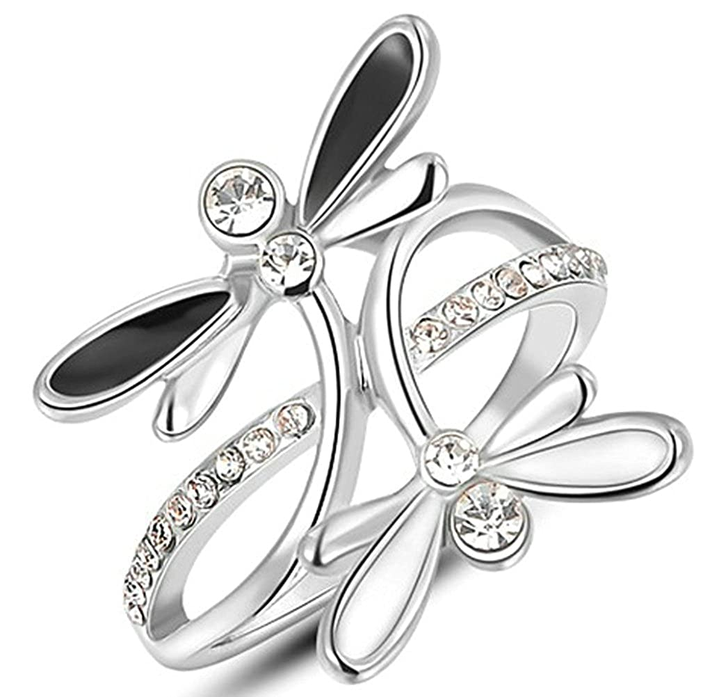 Vmculb Fashion Jewelry Womens 18K Gold Plated Ring Austrian Crystal Black-White Dragonfly White Gold Elegant Rings VDXTSRING483