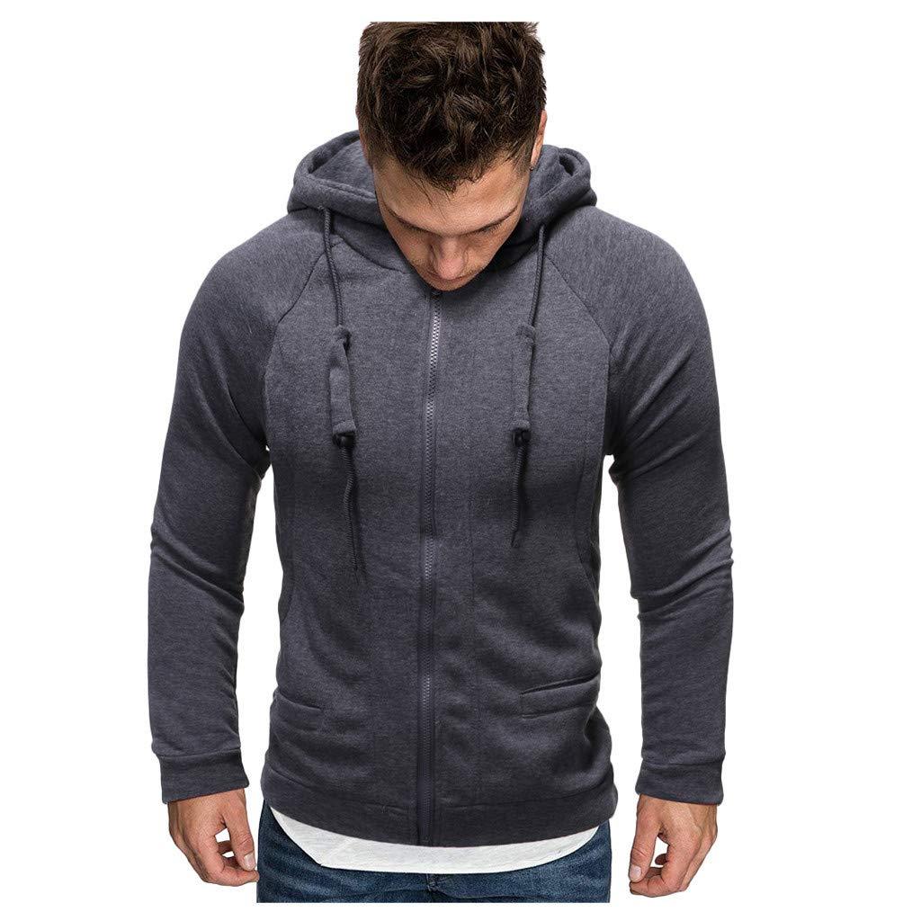 Mens Slim-fit Casual Solid Long Sleeve Zipper Hooded Sweatshirt Sweater Coat Top Shirt