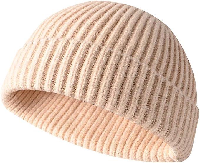 Men Knitted Sailor Cap Hat Beanie Skullcap Retro Navy Style Cuff Brimless Beanie