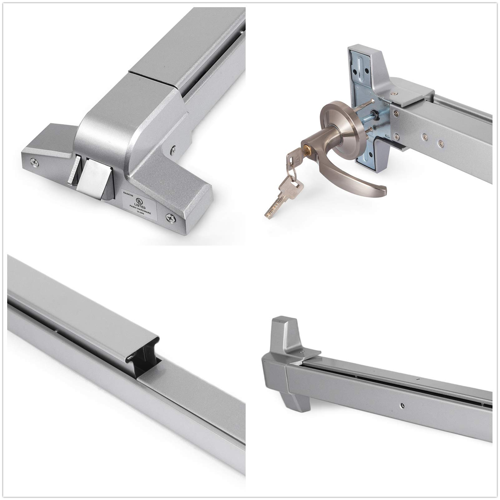 Happybuy Door Push Bar Panic Exit Device with Dogging Key and Exterior Lever Commercial Emergency Exit Bar Panic Exit Device for Wood Metal Door Panic Exit Bar (Push bar with Dogging Key and Lever) by Happybuy (Image #8)