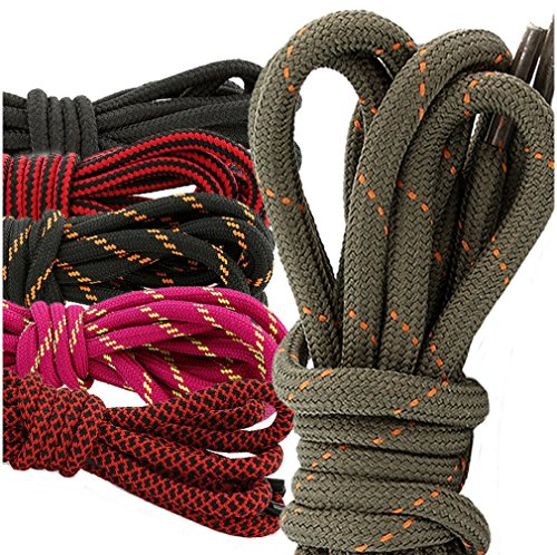 DailyShoes Round Hiking Boot Shoelaces Strong Durable Stylish Shoe Laces Elision Mohamed , (Great for Bowling Shoes) Black Orange 36″ inch (91 cm), (6 PAIRS PACK)