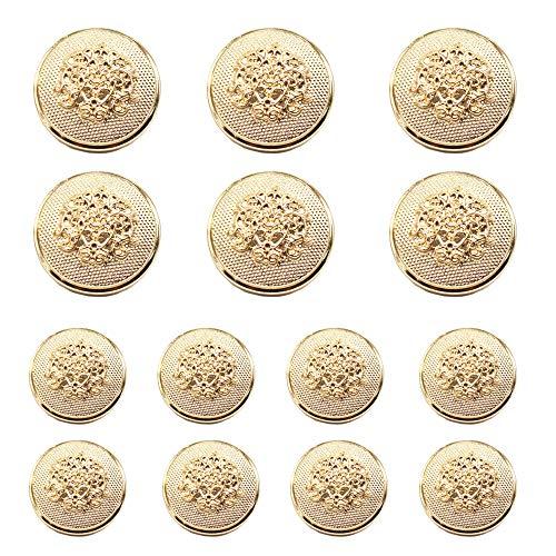 Antique Brass Uniform Jackets Suits YaHoGa 14 Pieces Antique Metal Blazer Buttons Set for Blazers Sport Coat