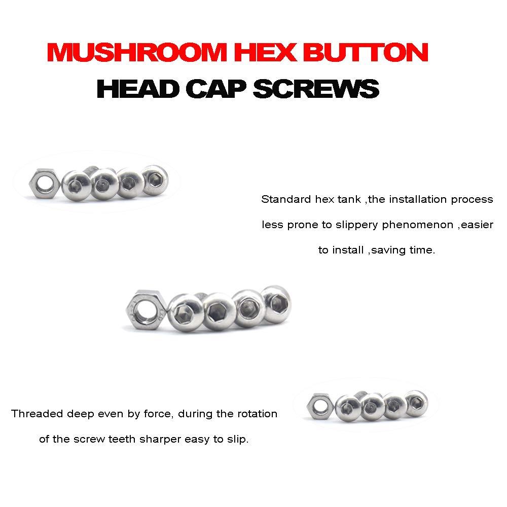 Yosawa 320 Pcs M3 M4 M5 Stainless Steel Screws Mushroom Hex Button Head Cap Bolts and Nuts Assortment Kit