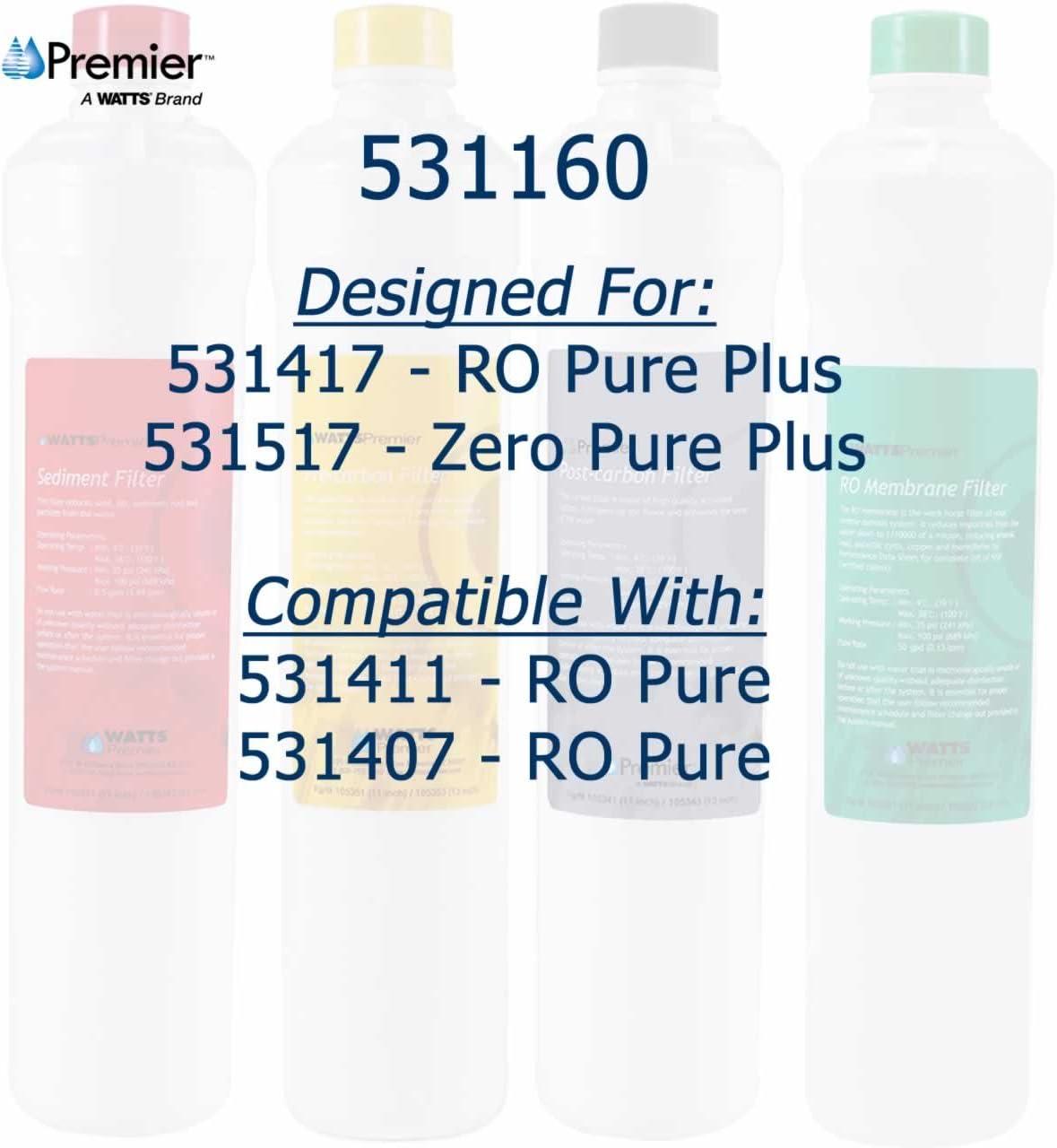 Watts Premier 531160 RO Pure Plus 4 Pack Filter Kit