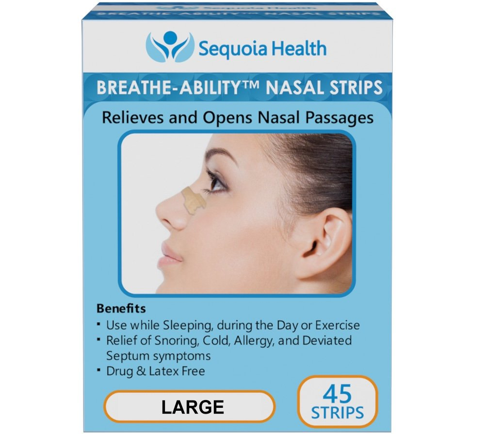 Nasal Strips (45 COUNT) by Breathe-Ability - Relieves and Opens Nasal Passages - Relief of Snoring, Cold, Allergy, and Deviated Septum Symptoms (Large) by Sequoia by Sequoia