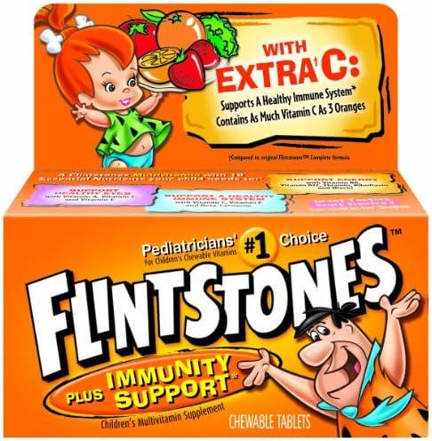 Flintstones Children s Chewable Multivitamin plus Immunity Support*, Children s Multivitamin Supplement with Vitamins A, C, E and Zinc, 60 Count