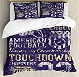 Duvet Cover Set Sports Retro Style American Football College Theme Illustration Athletic Championship Apparel Ultra Soft Durable Twill Plush 4 Pcs Bedding Sets for Kids/Teens/Adults Twin Size