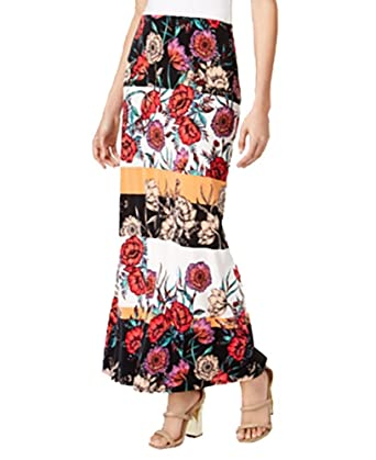 f40d186c51 ECI Printed Maxi Skirt (Floral Print, Large) at Amazon Women's Clothing  store: