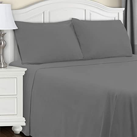 Amazon Com Superior Cotton Flannel Bed Sheet Set Cotton Bed Sheets Deep Pocket Sheets Extra Soft Grey King Size Home Kitchen