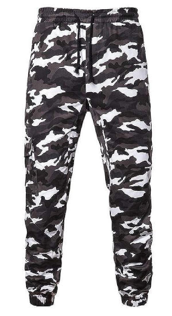 Domple Mens Sports Casual Slim Multi-Pockets Camo Print Cargo Jogger Pants
