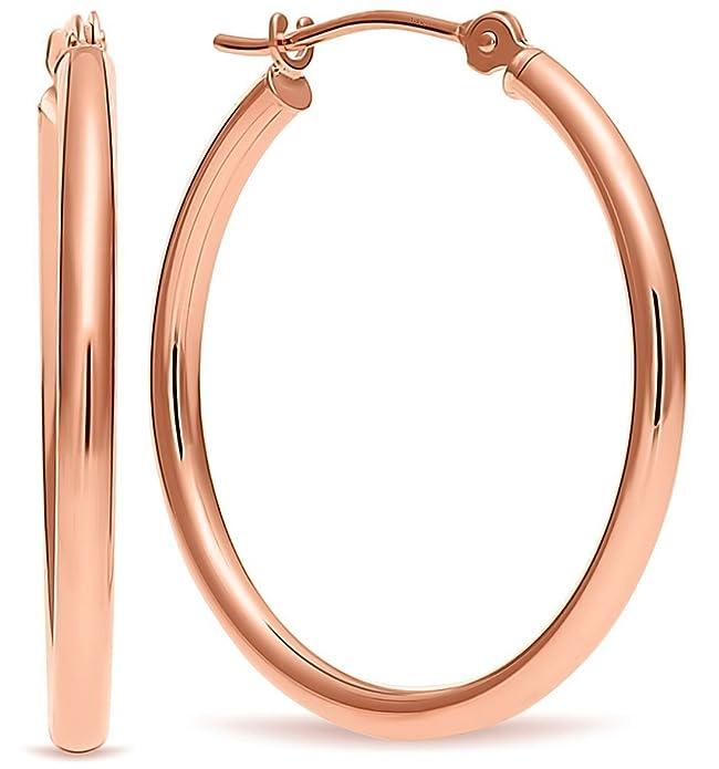 651ee946b Amazon.com: 14k Rose Gold Hoop Earrings, 1