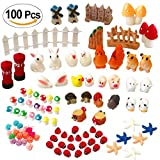Atecy 100 Pcs Miniature Garden Ornaments Kit, DIY Fairy Garden Dollhouse Decor