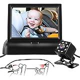 MONOJOY Baby Car Mirror Camera, 4.3'' HD Display Baby Mirror for Car Back Seat Full View Infant, Night Vision Baby Car Camera
