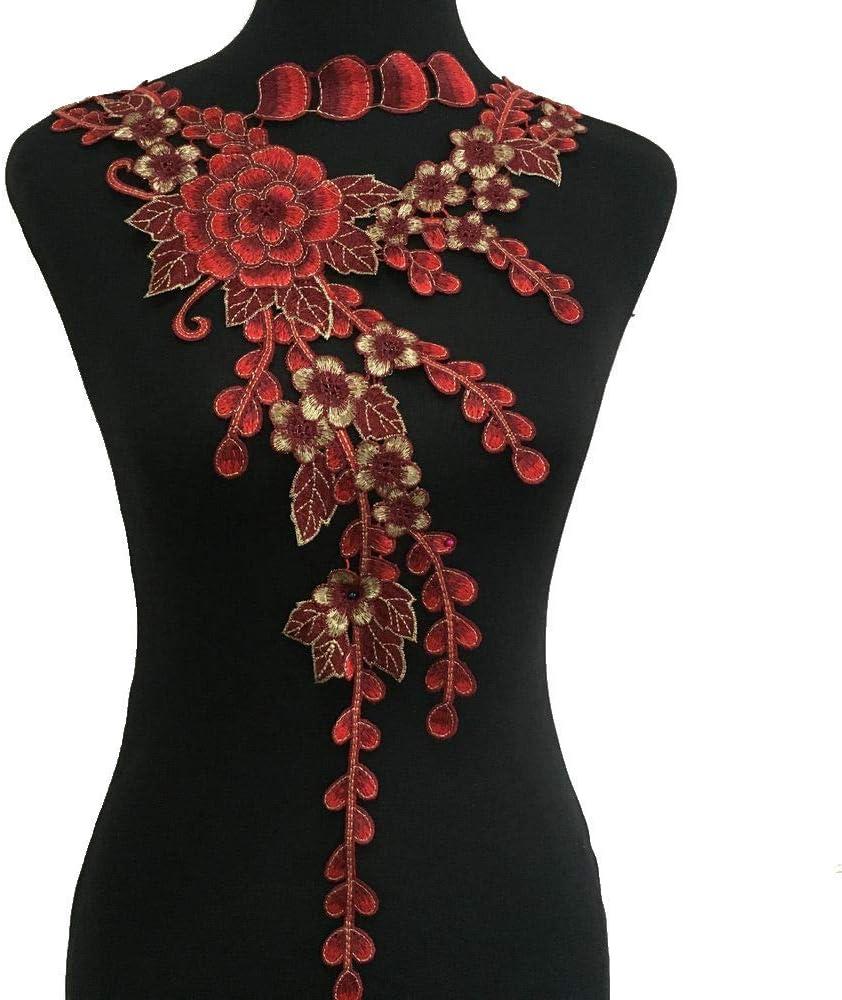 1set Neckline Collar Flower Venise Lace Applique Trim Fabric Sewing Supplies