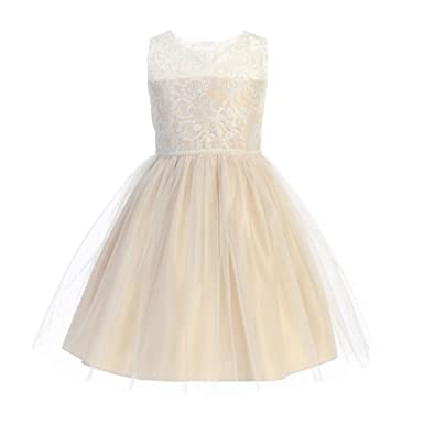 c88c7ad3b6cae Sweet Kids Big Girls Champagne Mesh Pearl Trim Junior Bridesmaid Dress 7